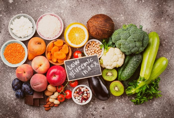 low glycemic index foods flat lay