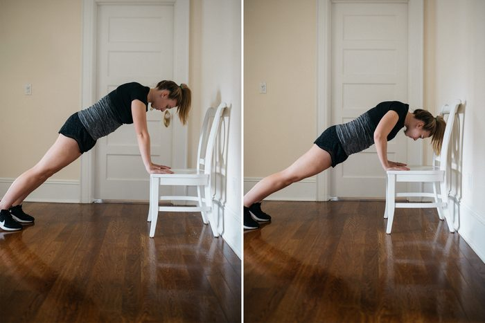 chair push up at home workout exercise