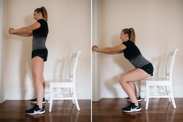 chair squat at home workout