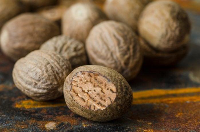 close up of nutmeg