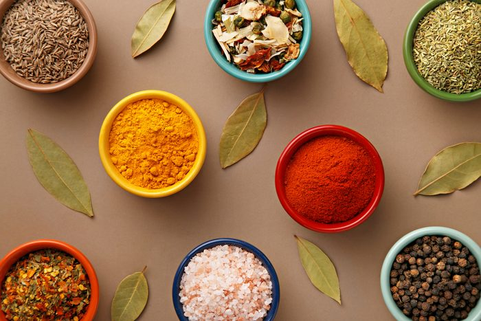 bowls of herbs and spices that are healthy