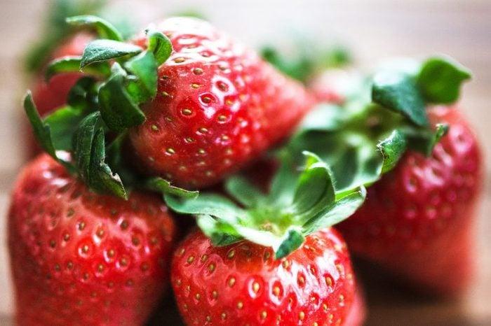 Stack of fresh strawberries.