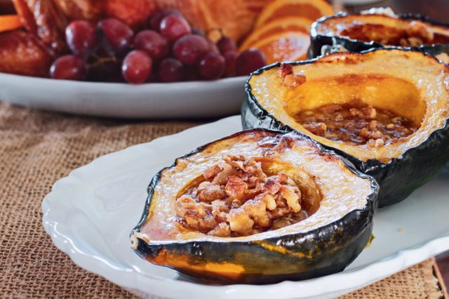 acorn squash spice apples walnuts thanksgiving