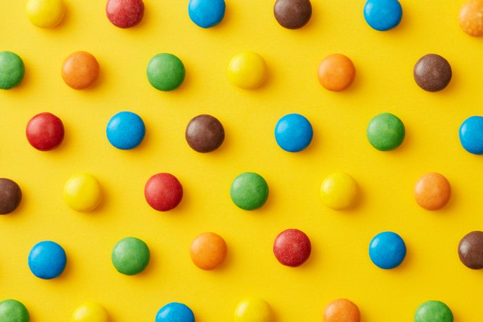 closeup of different colored candy
