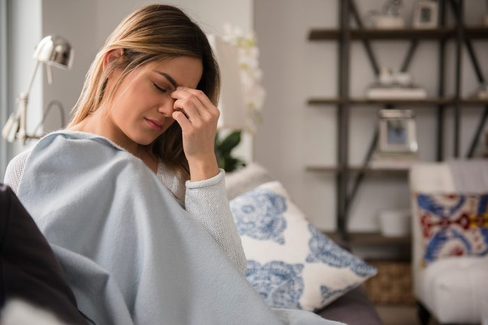 woman tired at home