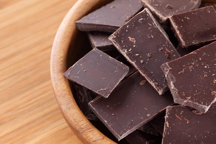 dark chocolate in bowl