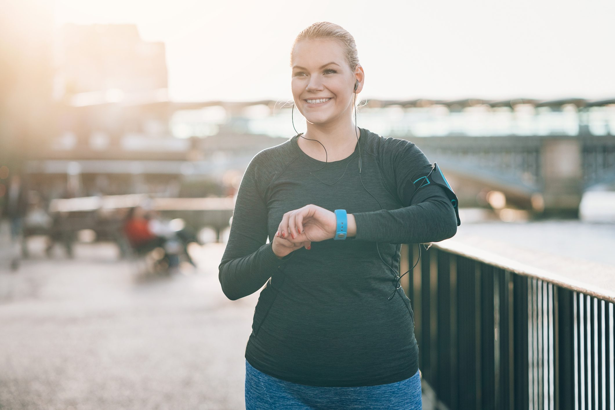 smiling woman working out