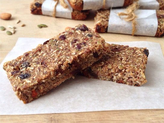Quinoa, fruit, and nut protein bars.