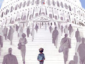boy walking up steps