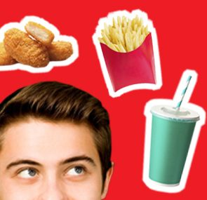 teen looking at fast food