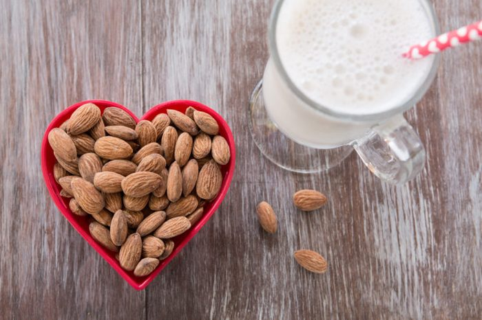 heart shaped almonds and milk