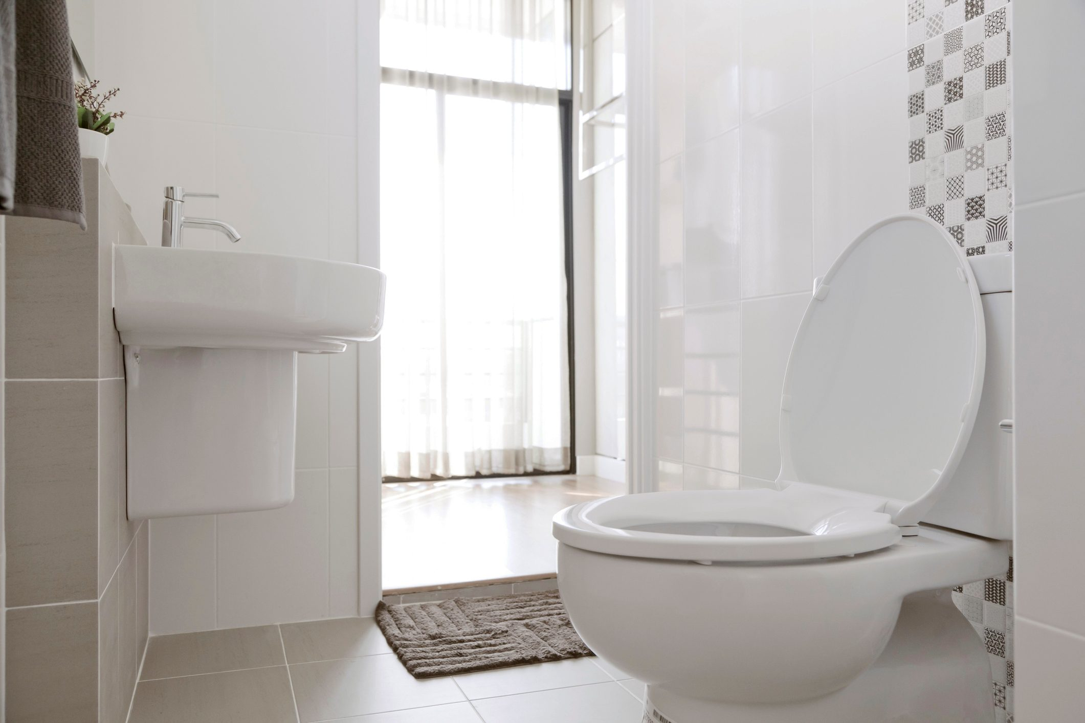 white bathroom in home
