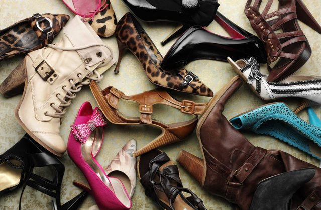 A bunch of high-heeled shoes of all kinds