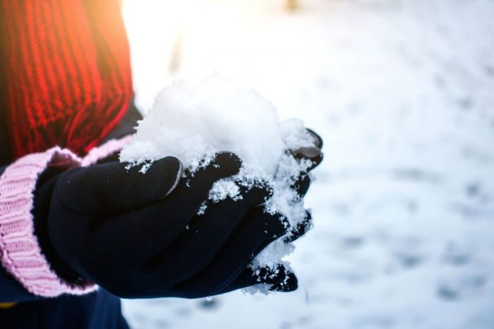 Person in gloves holding a snowball.