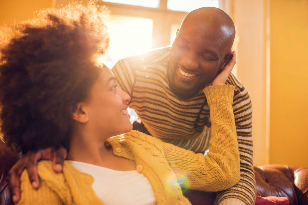 African-American couple in love