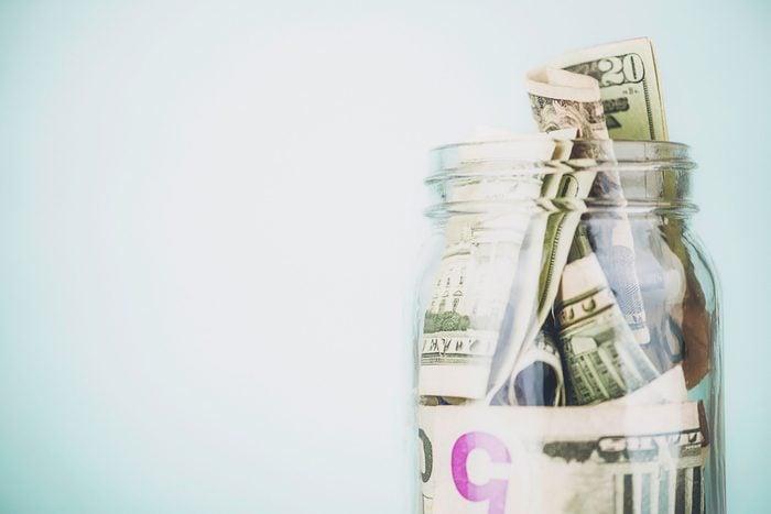 jar stuffed with money