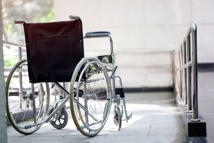 empty wheelchair on a ramp