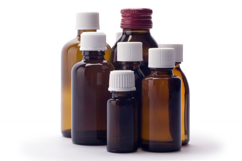 brown medicine bottles, different shapes and sizes