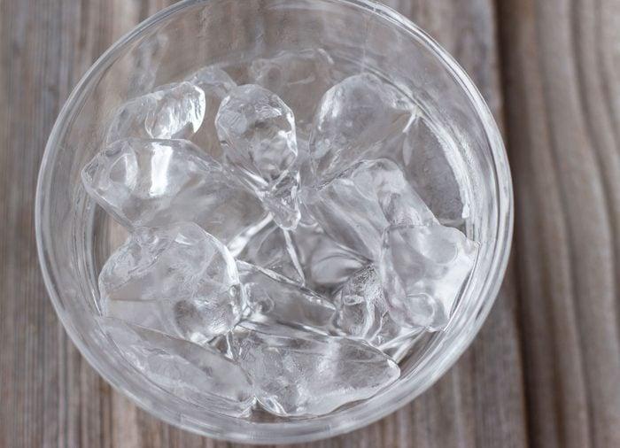 glass bowl full of ice