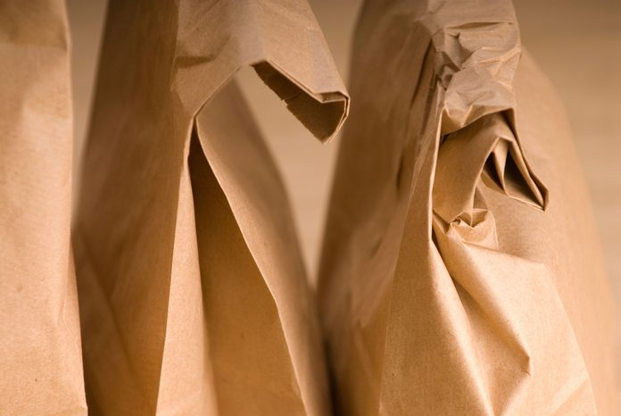 folded brown paper bags