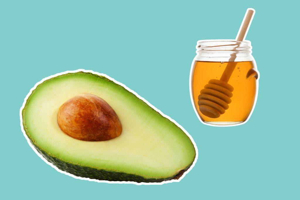 avocado half with honey jar