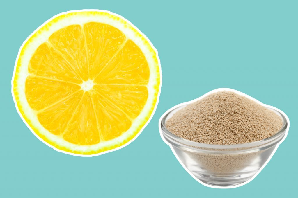 lemon round next to a bowl of brewer's yeast