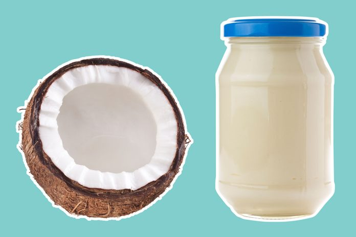 half of a coconut next to mayonnaise
