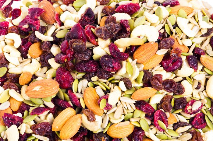 dried nuts, seeds, and craberries