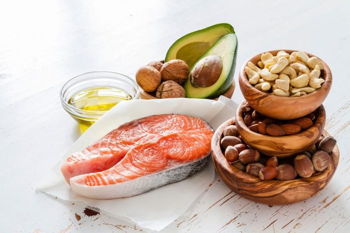 Omega-3 fatty rich foods like nuts, avocados and salmon.