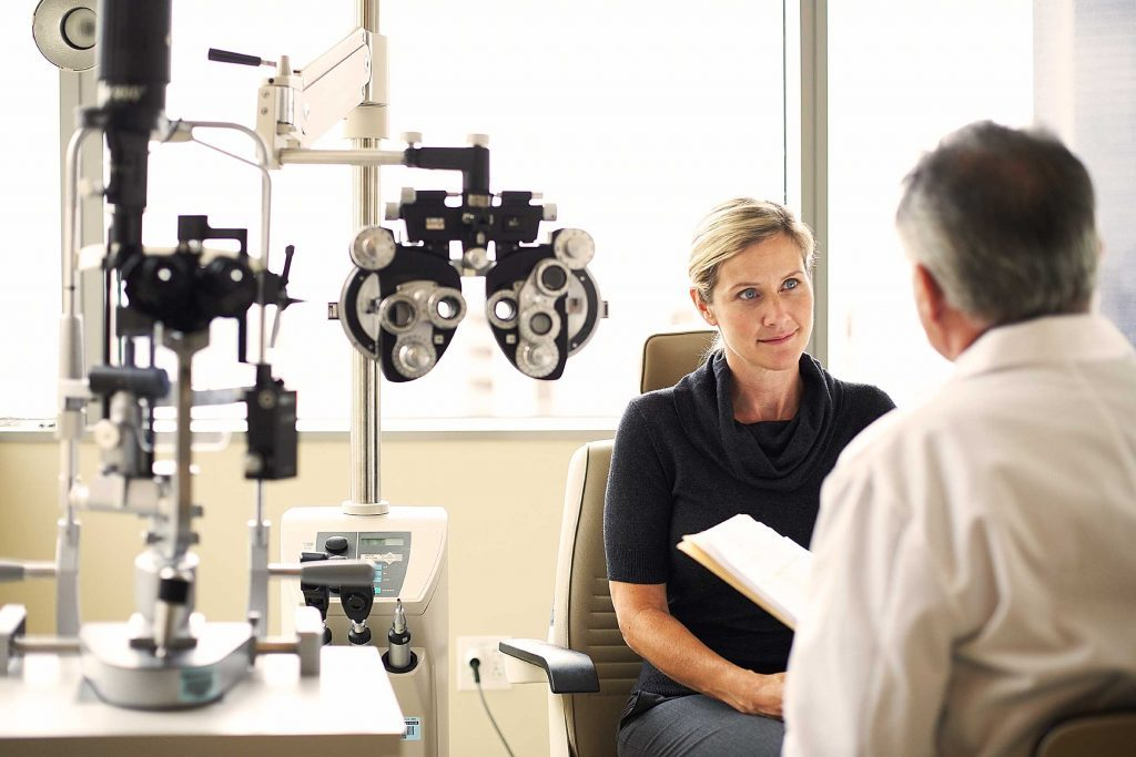 Woman seeing her eye health professional.