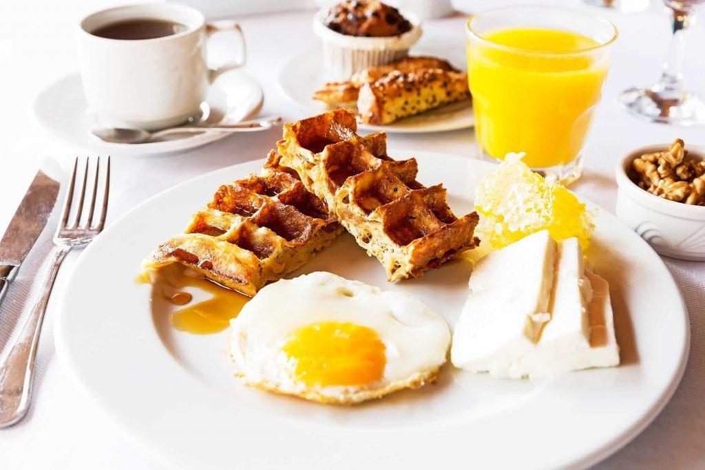 eggs, waffles and orange juice