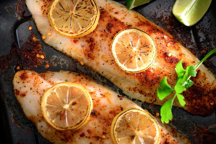 Fish roasted with lemon and spices.