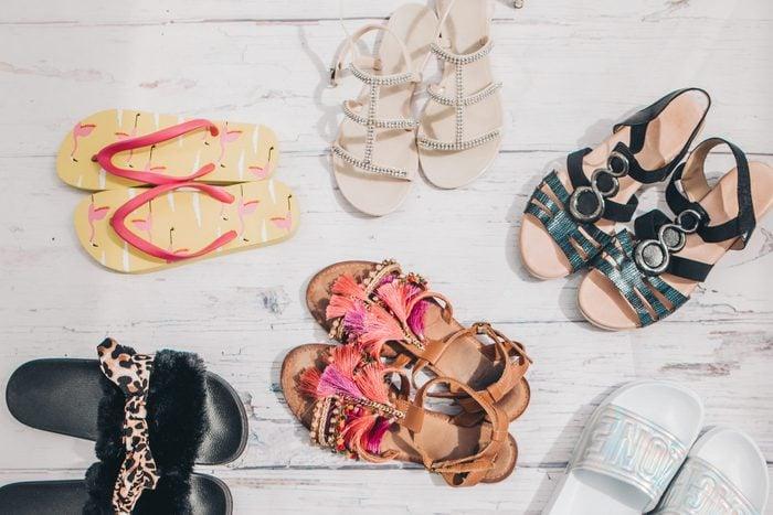 overhead shot of various sandal shoes