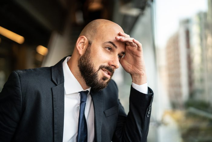 man thinking about what to do