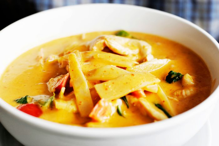 bowl of soup with bamboo shoots