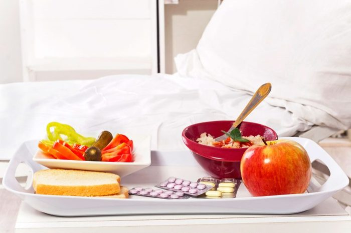 tray of food on hospital bed