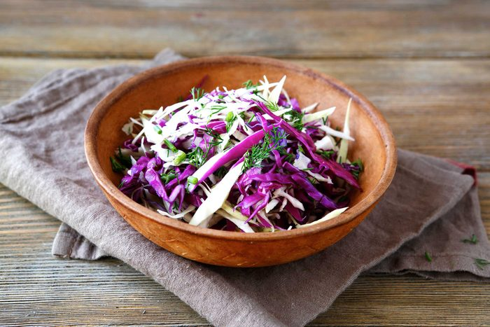 bowl of shredded cabbage