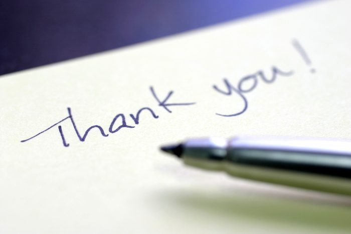 thank you note and pen