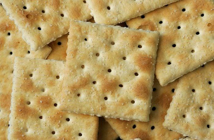 saltine crackers close up full frame