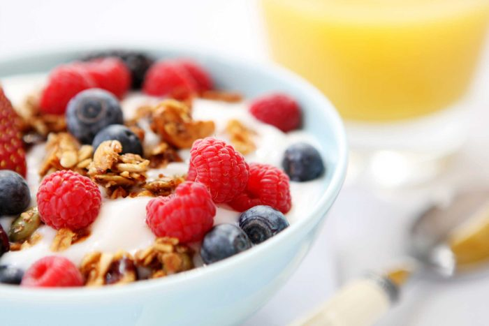 Yogurt bowl with berries and granola.