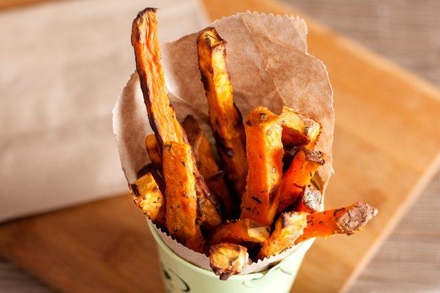 cone of sweet potato fries