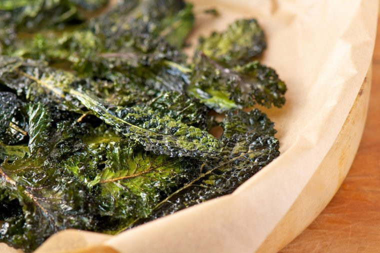 Plate of baked kale.