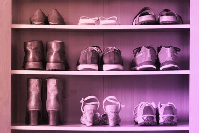 shoes on shelves
