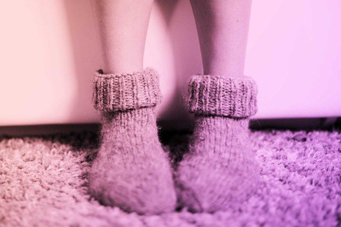 person wearing cozy winter socks