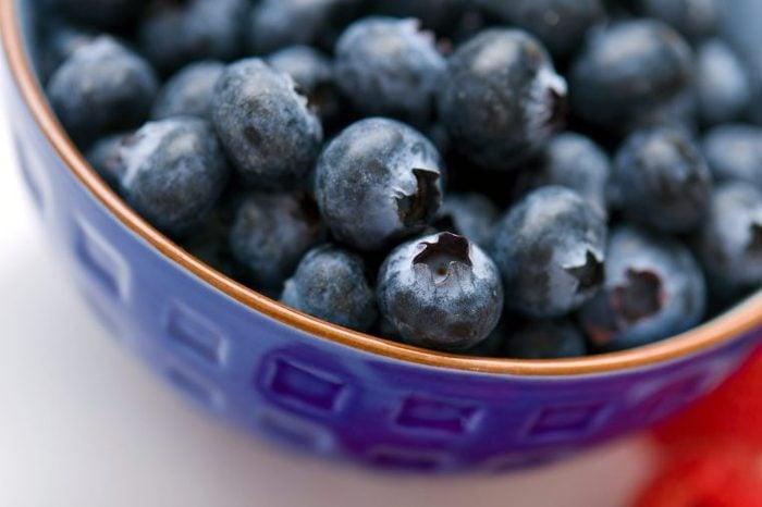 Bowl of blueberries.