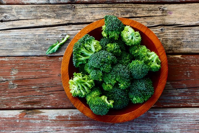 Top view of a bowl of broccoli.