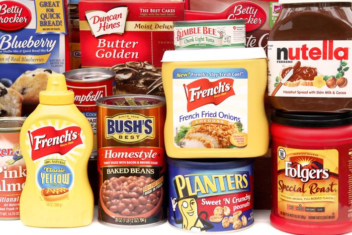 An array of packaged and processed foods.