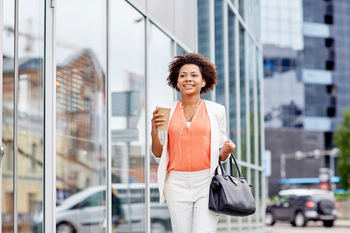 Pretty African American woman walking tall.