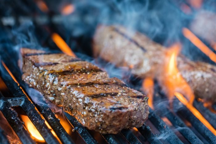 steak on the grill close up