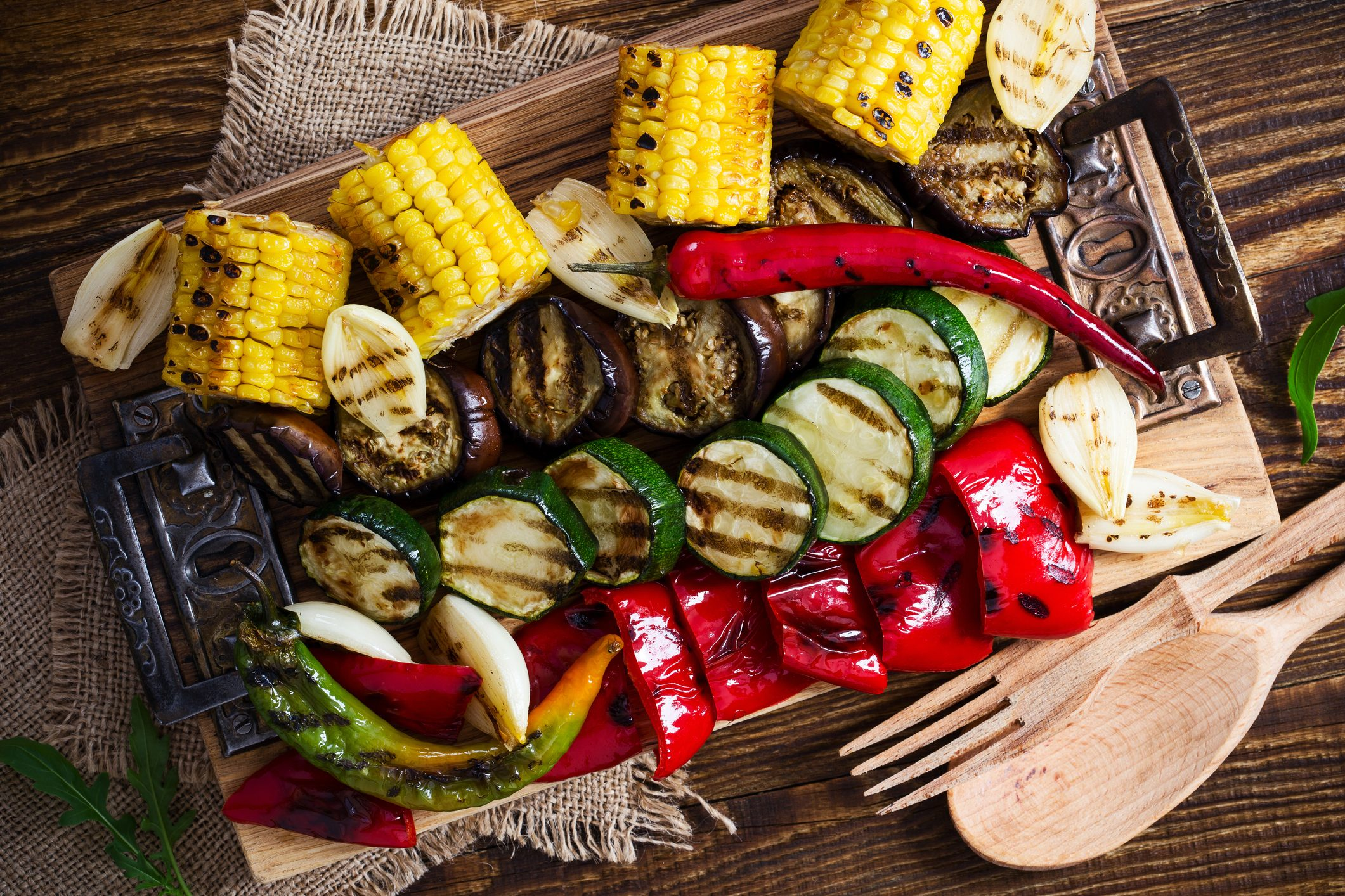 grilled vegetables shot from above